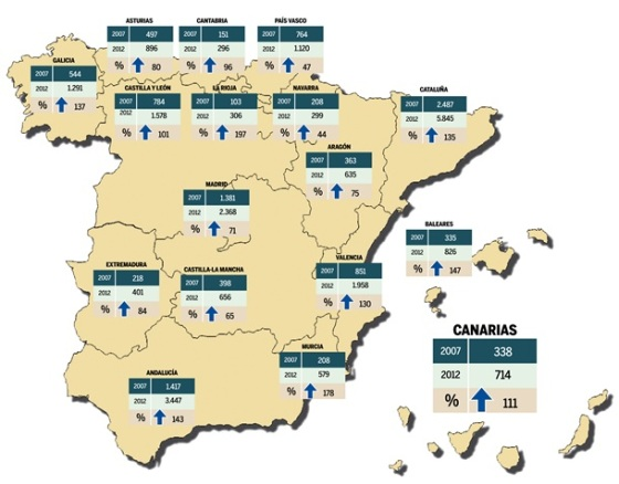 Map ot the 17th Autonomous Regions of Spain